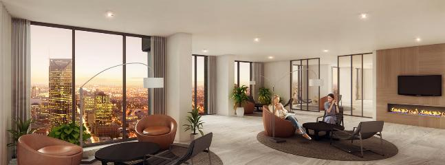 Level 55 private lounge area with fireplace reserved for top floor apartments only (incl. this one)