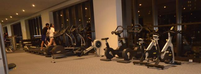 State of the art spacious fitness centre on level 9 and 55 work out with amazing sky line views