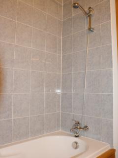 Bathroom - somethng for everyone - a powerful shower and a good sized sturdy bath