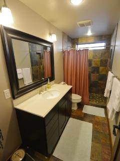 Lower Level Bathroom with Vanity, Shower and Toilet