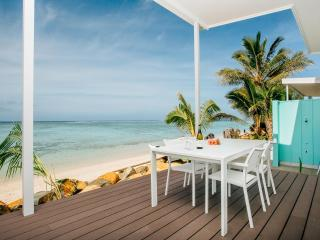 Stunning lagoon views from your beach deck.  Sunloungers and outdoor dining to enjoy.