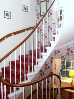 curved stone stair case