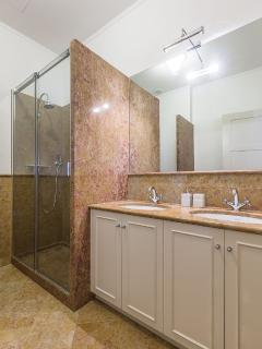 the second marble bathroom with shower