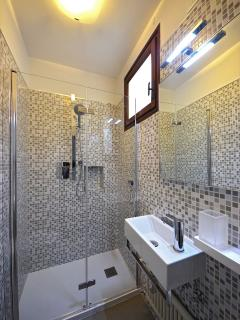a smaller second bathroom with large shower cabin