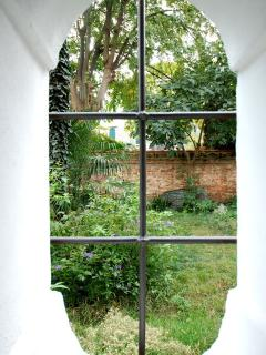 a detail: view from the bathroom on the gardens