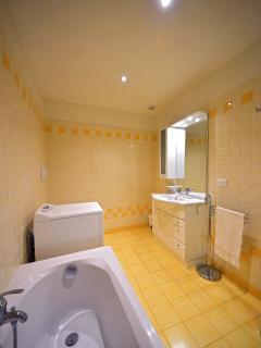 spacious bathroom with bathtub and washing machine