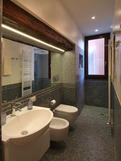 stylish and spacious bathroom with big shower