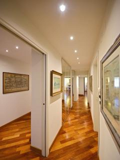 the corridor that connects the living area with the bedrooms
