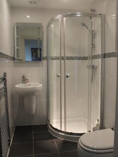 Shower, wash hand basin & WC.