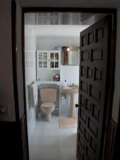 wc, ducha con armario, ventana al jardín.