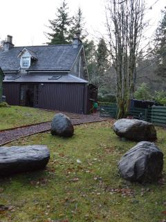 View of the stone features in West Lodges extensive garden