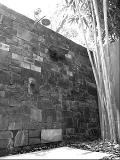 Outdoor private guest bathroom. One with nature. Spa feel
