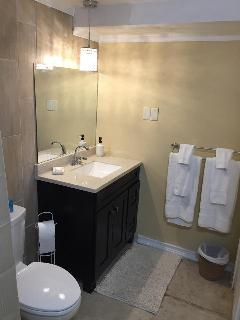 Bathroom on the first level offers a walk-in shower, toilet, and large vanity.
