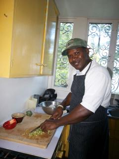 Leston, the estate's chef - three meals a day, with a smile!  Just choose your daily menu