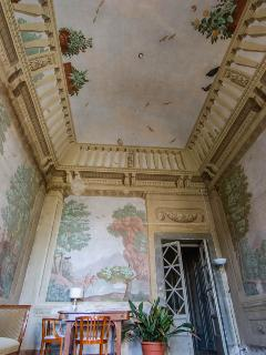 Stunning trompe-l'oeil frescos turn this parlour into a balcony .......