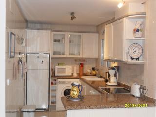 Volledig ingerichte keuken, met 3 pits keramische kookplaat en oven, vaatwasser en  wasmachine.