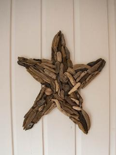 One of the driftwood wall art pieces decorating the chalet.