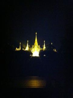 Illuminated Buddhist temple on the hill
