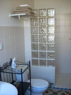 En-suite bathroom to main bedroom with walk-in shower. Shower gel, soap and hair dryer also provided