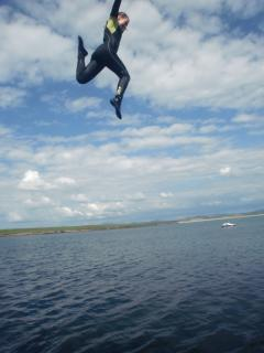 Jumping off harbour wall!