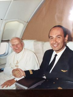 Pope Paolo Giovanni II with pilot Walter