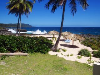 The villa has a private beach