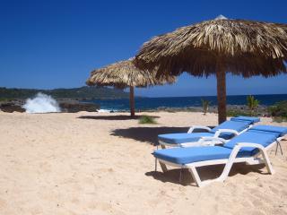 The villa has a private beach (but no ocean access)
