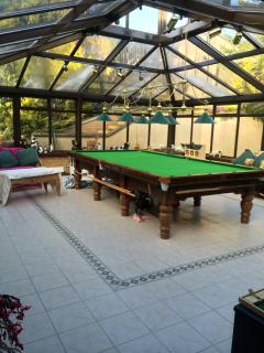 Large conservatory complete with seating and full size professional snooker table