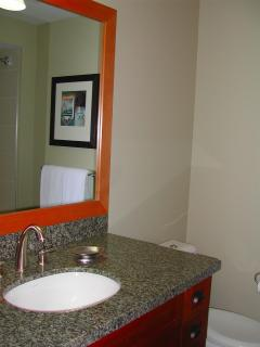 bathroom with granite counter tops, magnifying makeup mirror, shower and tub