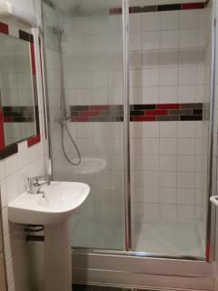 shower room with double width shower cubicle, wash hand basin and toilet