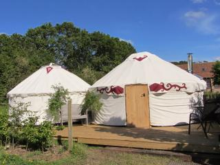 Our bedroom and living room yurts together at Greenland Glamping
