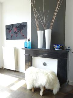 Bedroom 1 - Stools covered with Iceland sheep pelts.