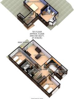 3D illustration of both floors