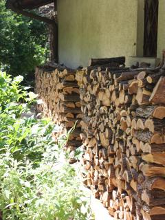 Wood for the barbecue outside the kitchen