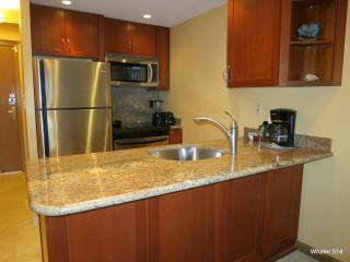 Your gourmet kitchen with stunning upgraded granite counter and cherry wood cabinets