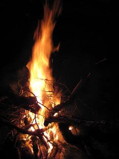 Fire by the river.