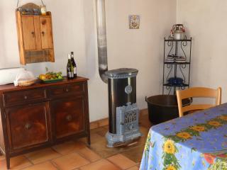 Barn interior - corner of kitchen with Godin stove