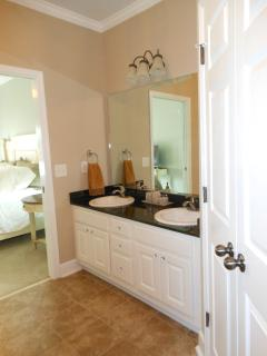 Double sinks and large walk in closet