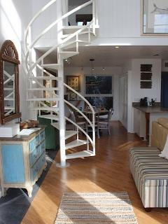 Stairs leading to entertainment loft - a great place to for the kids to hang out