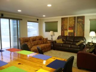 Spacious living room with 3 couches, 60' TV, surround sound & Blue Ray player
