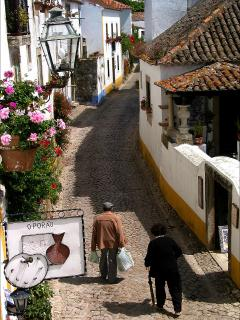 Inside the Medieval Walled City Of Obidos