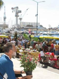 Our super flower market around the Port, just a few feet from our door.