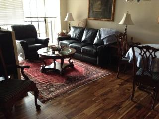 Living room with sleeper sofa and new wood floors