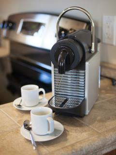 Savor a Nespresso, or French press coffee or a cup of tea in your own kitchen.