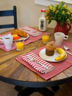 Relax over breakfast at home. We can pre-stock your kitchen by special arrangement.