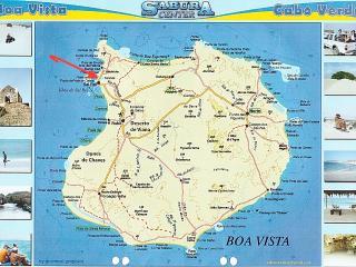 Plan de l'Ile de Boa Vista la fèche indique l'emplacement de Casa Celeste