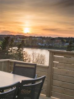 Large deck overlooking water for taking in the sunsets!