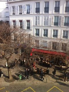 The famous bakery 'Coquelicot', Place des Abbesses from the living window
