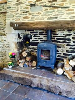 Traditional Breton Fireplace and Wood Burning Stove.