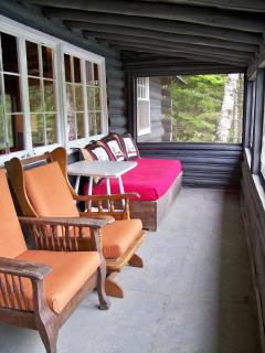Screened-in porch overlooking pond